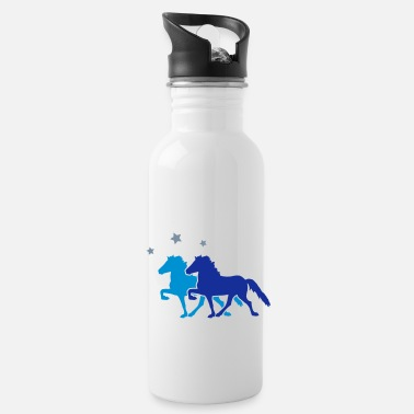 Paarden Two Horses with silver-metallic Stars - Drinkfles