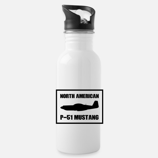 World Mugs & Drinkware - P-51 Airplane WWII Gift Gift Idea - Water Bottle white
