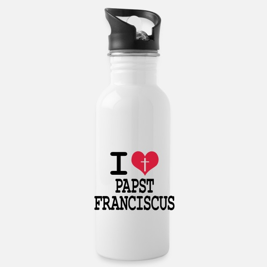 Think Mugs & Drinkware - I love Pope Franciscus - Water Bottle white