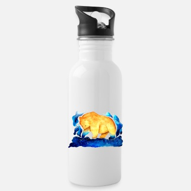 Watercolour Touch The Sky Big Galaxy Brown Bear - Water Bottle