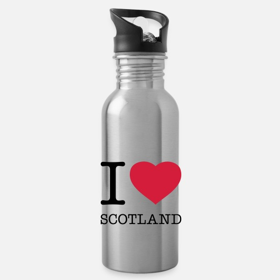 Heart Mugs & Drinkware - I LOVE SCOTLAND - Water Bottle silver