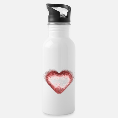 Sparkle Glitter Heart Gold Red - Water Bottle