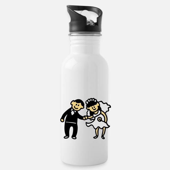 Bride Mugs & Drinkware - Wedding Couple - 3 - Water Bottle white