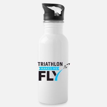 Triathlon - Makes me fly - schwarz 02 - Trinkflasche