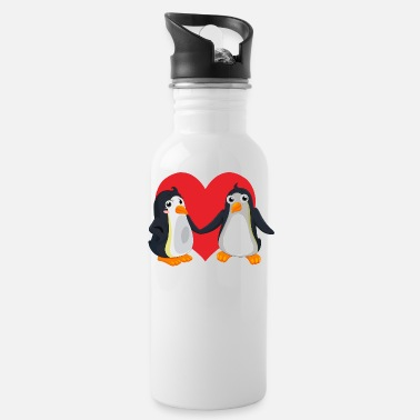 Bruiloftsfeest pinguin pair - Drinkfles