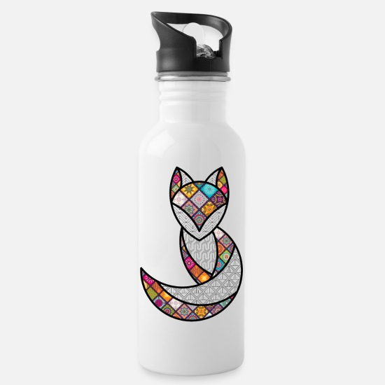 Psychedelic Mugs & Drinkware - PSYCHEDELIC FOX / the PSYCHEDELIC fox - Water Bottle white