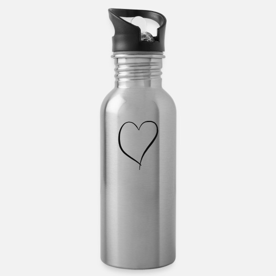 Love Mugs & Drinkware - heart - Water Bottle silver