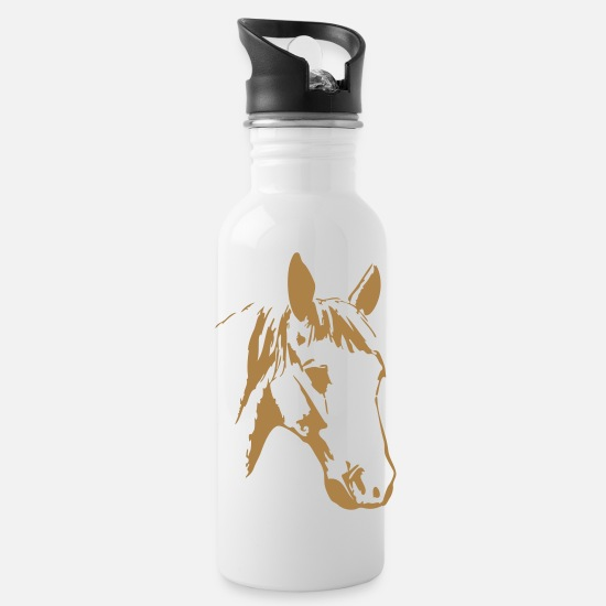 Comics Mugs & Drinkware - horse horses pony riding - Water Bottle white