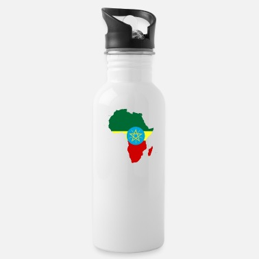 african_flag_map_of_ethiopia - Water Bottle