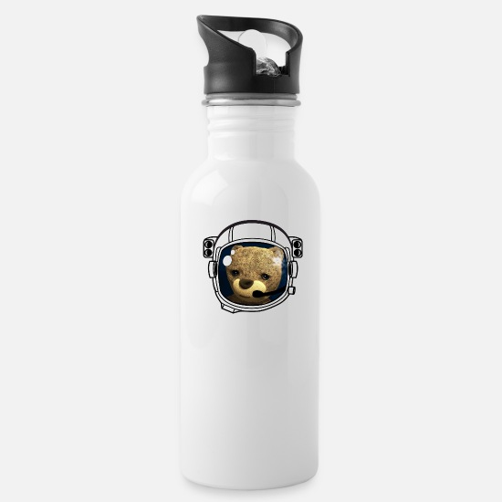 Teddy Bear Mugs & Drinkware - Teddy Astronaut cosmonaut Space Space Ship Helmet l - Water Bottle white