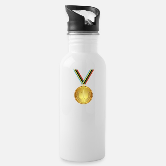 Gold Mugs & Drinkware - Gold medal, medal, winner winner - Water Bottle white