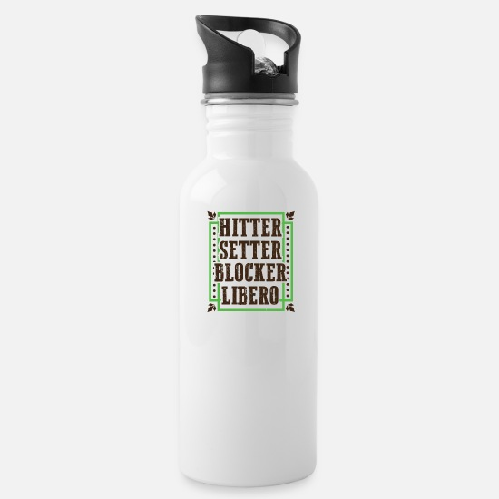 Work Out Mugs & Drinkware - Beach Volley Ball Hitter Blocker Setter Libero - Water Bottle white