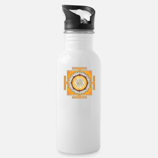 Geometry Mugs & Drinkware - Shri Yantra - Cosmic Energy Conductor - Water Bottle white