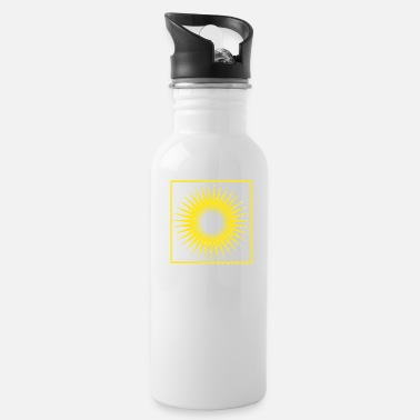Bright Geometry stripes sun abstract square - Water Bottle
