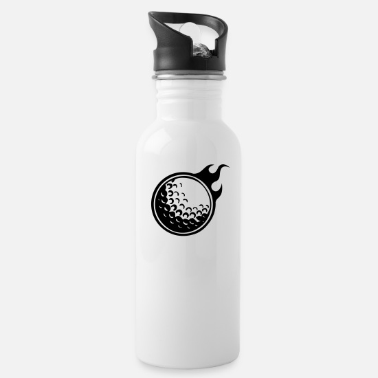 Golf Ball Mugs & Drinkware - golfball with flames - Water Bottle white