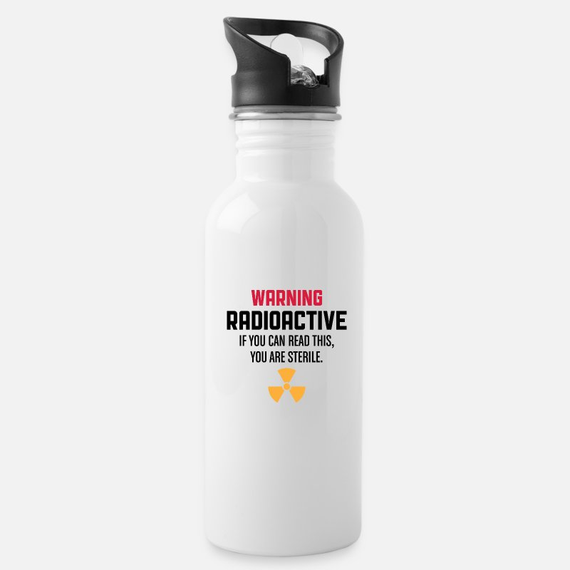 Radioactive Mugs & Drinkware - Caution: Radioactive - Water Bottle white