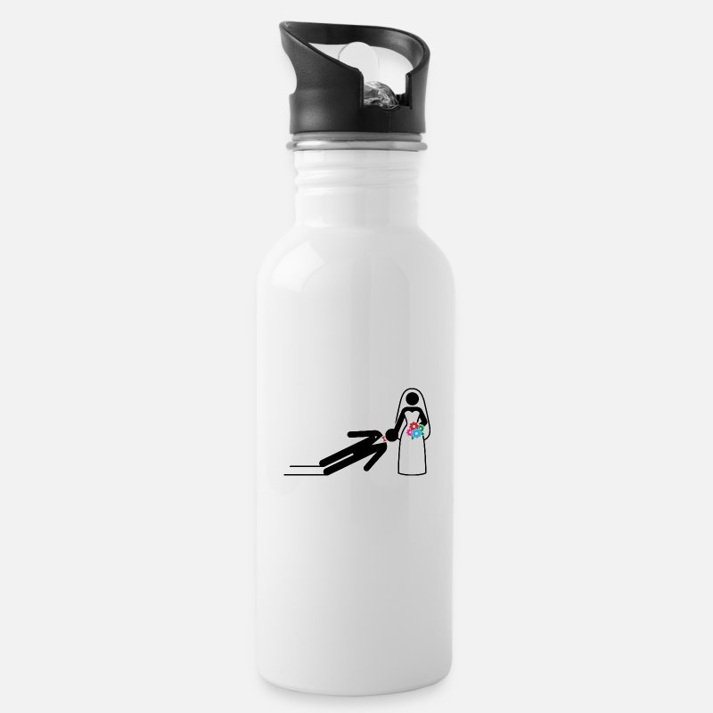 Dominant Mugs & Drinkware - A dominant bride holds her husband as a slave - Water Bottle white