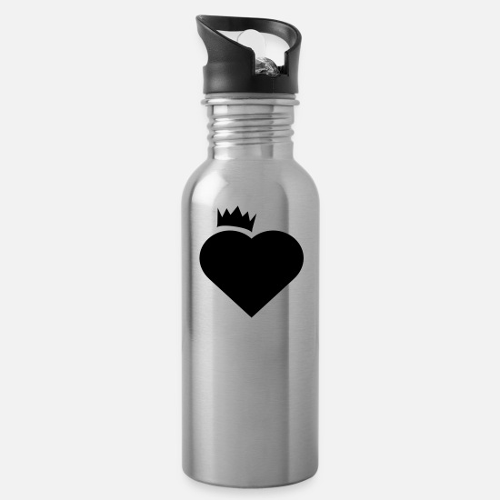 Heart Mugs & Drinkware - heart - Water Bottle silver