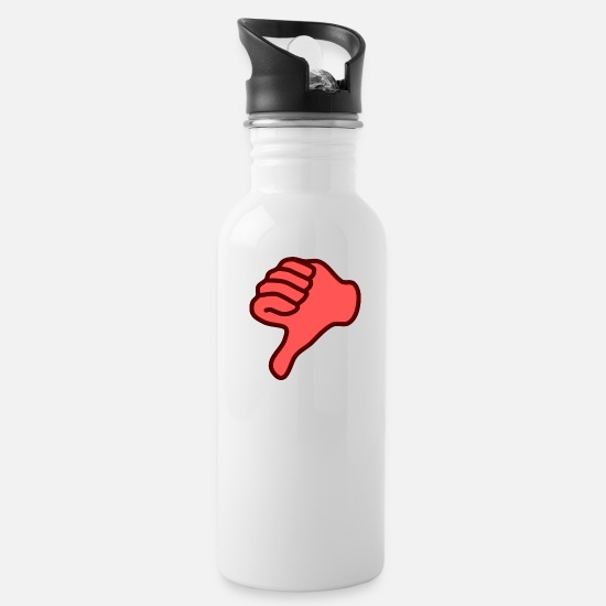 Gift Idea Mugs & Drinkware - Dislike thumbs down hand gift gift idea - Water Bottle white