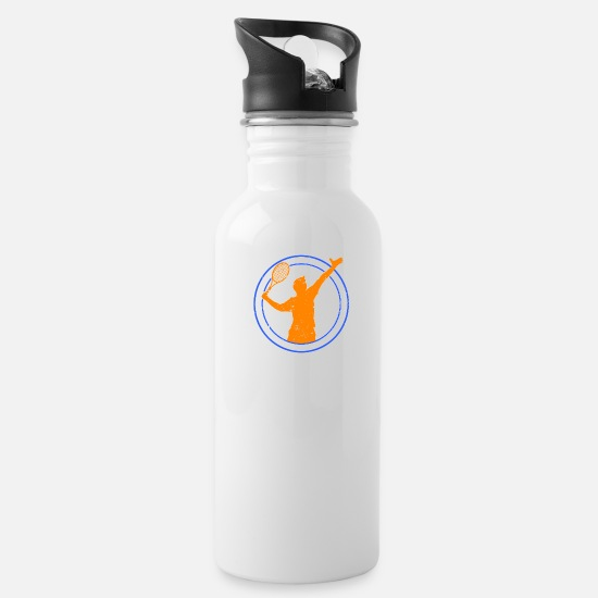 Gift Idea Mugs & Drinkware - Shuttlecock badminton racket double backhand - Water Bottle white