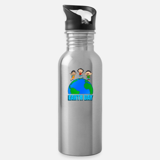 Enviromental Mugs & Drinkware - earth day carbon dioxide eco co2 globe green environment - Water Bottle silver