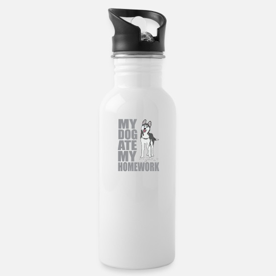 Teacher Mugs & Drinkware - Dog ate homework - Water Bottle white