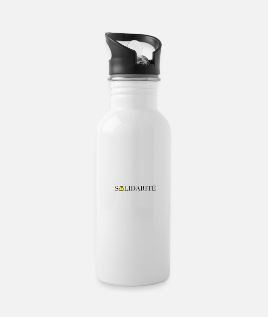 Lettering Mugs & Drinkware - Yellow Vests Gilets Jaune Solidarité logo - Water Bottle white