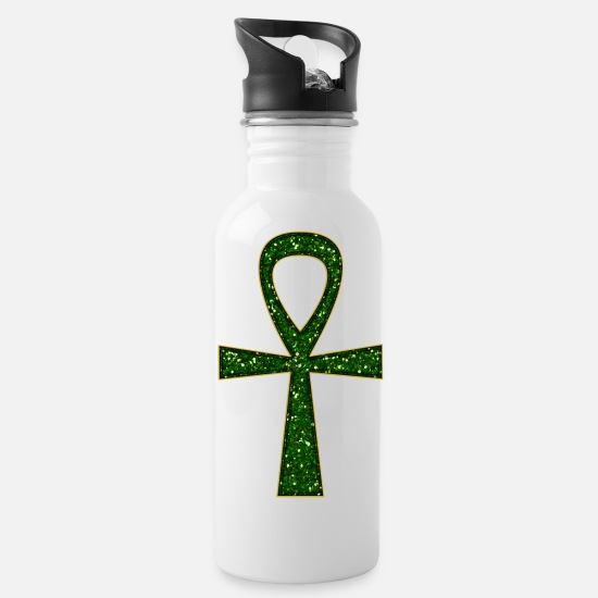 Prosperity Mugs & Drinkware - Ankh Amulet / Symbol - Health, Prosperity & Long - Water Bottle white