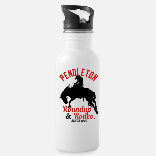 Western Mugs & Drinkware - Pendleton Roundup & Rodeo Since 1910 - Water Bottle white