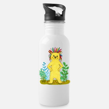 Straw yellow feather lion - Water Bottle