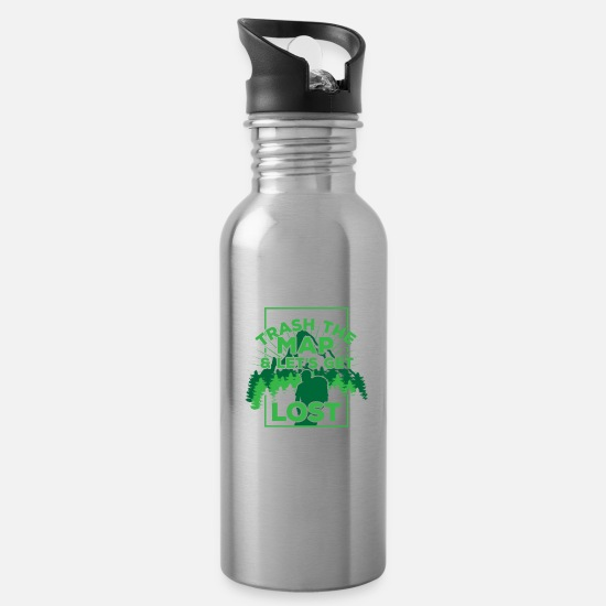 Travel Mugs & Drinkware - Trash the map - Water Bottle silver