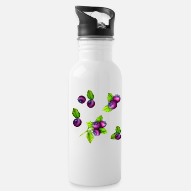 Watercolour Blue Berry Botanical Fruit Pattern - Water Bottle