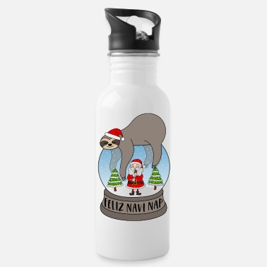 Winter Sloth snow globe saying Feliz Navi Nap Santa - Water Bottle