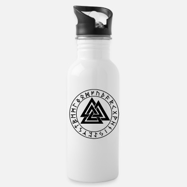 Mythology Wotansknoten Valknut In the rune circle Futhark - Water Bottle