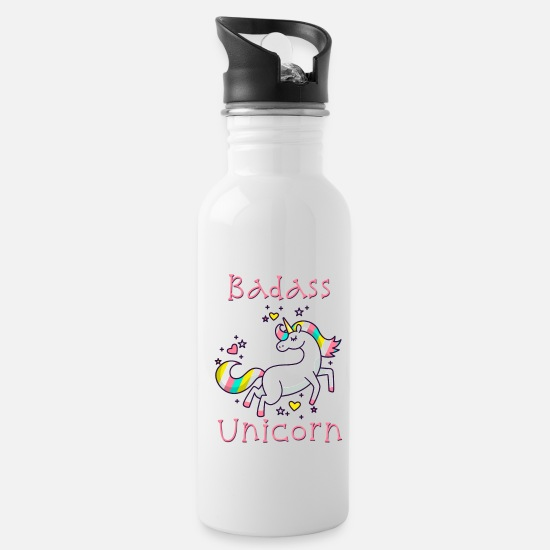 Birthday Mugs & Drinkware - Badass Unicorn - Limited Edition - Water Bottle white