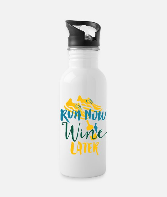 Strong Mugs & Drinkware - Run Now Wine Later - Water Bottle white