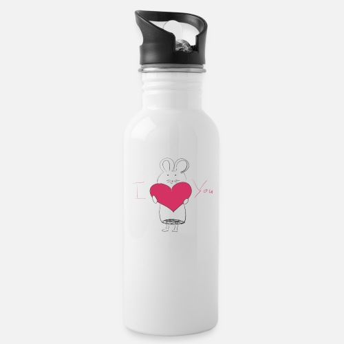 I love you mouse with heart gift Water Bottle - white