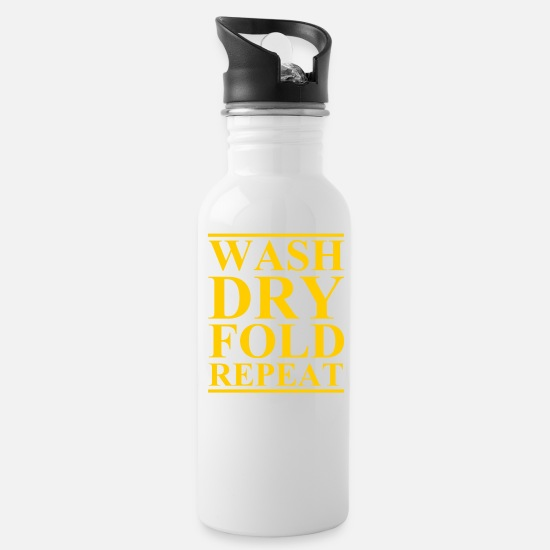 Washing Machine Mugs & Drinkware - Wash Dry Fold Repeat Wash Dry Collapsing - Water Bottle white