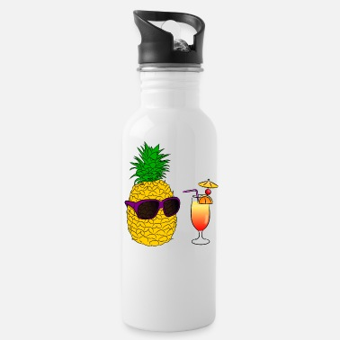Cocktail Pineapple with sunglasses and cocktail - Water Bottle