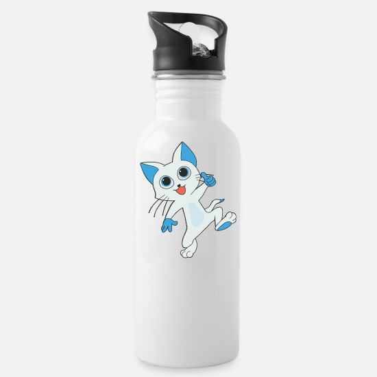 Love Mugs & Drinkware - Cat with saucer eyes and thumbs up - Water Bottle white