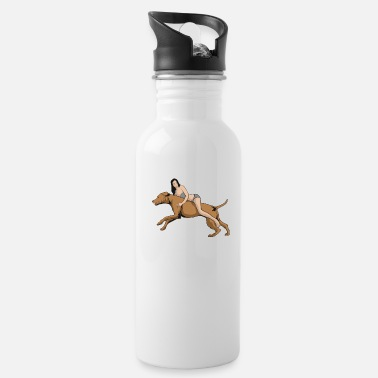 Illustration Dog riding woman - Water Bottle