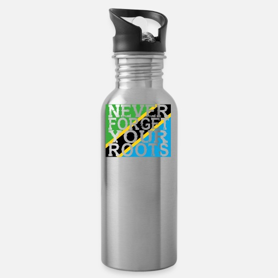 Tanzania Mugs & Drinkware - never forget roots home Tanzania - Water Bottle silver