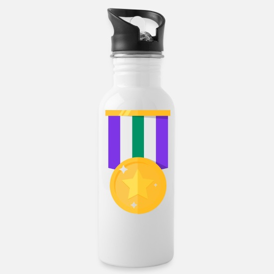 Reward Mugs & Drinkware - Medals single gold medal with stars gift - Water Bottle white