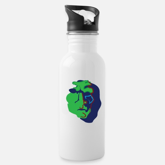 Nope Mugs & Drinkware - Grimace of Indignation (colored) - Water Bottle white
