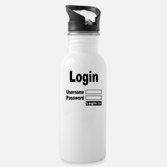Office Mugs & Drinkware - login username password - Water Bottle white