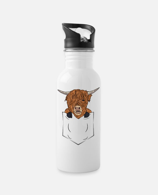 Cattle Mugs & Drinkware - Scottish Highland Cattle Bag Highland Cattle Cow - Water Bottle white