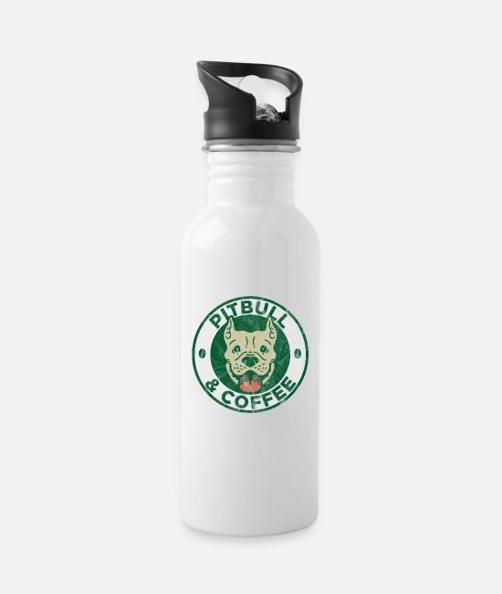 Coffee Bean Mugs & Drinkware - Pit Bull Coffee Drinker Bull Terrier Geek Gift - Water Bottle white
