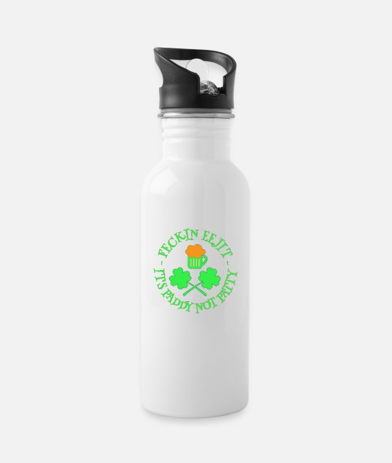 Trefoil Mugs & Drinkware - St Patrick's Day Feckin Eejit Beer and Shamrocks - Water Bottle white