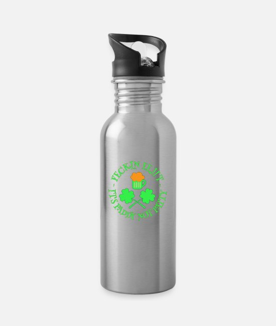 St Patricks Day Mugs & Drinkware - St Patrick's Day Feckin Eejit Beer and Shamrocks - Water Bottle silver