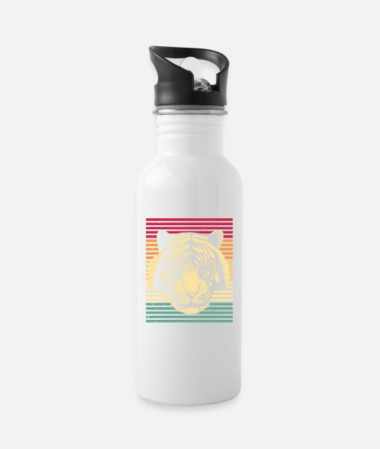Wild Mugs & Drinkware - Tiger vintage retro - Water Bottle white